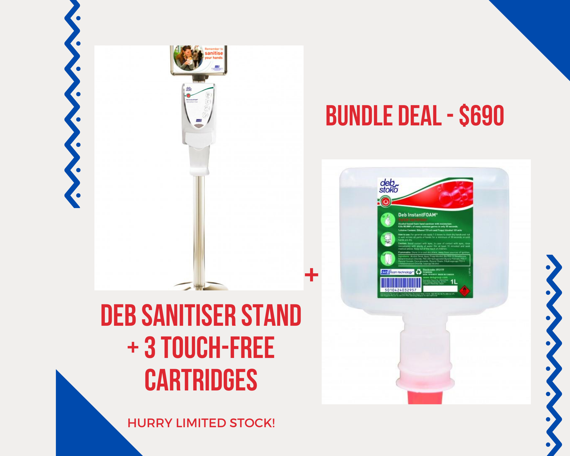 Deb Sanitiser Stand + 3 Touch-Free Cartridges