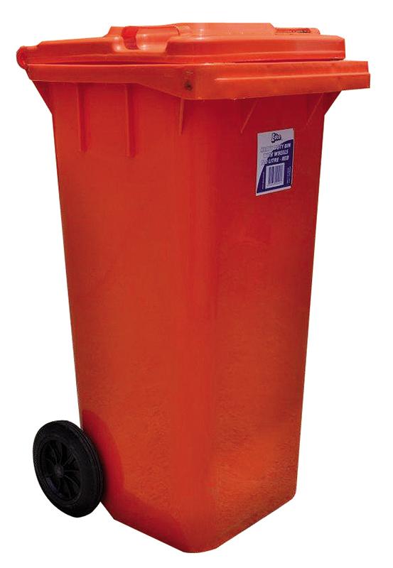 coloured heavy duty bin with wheels 120l