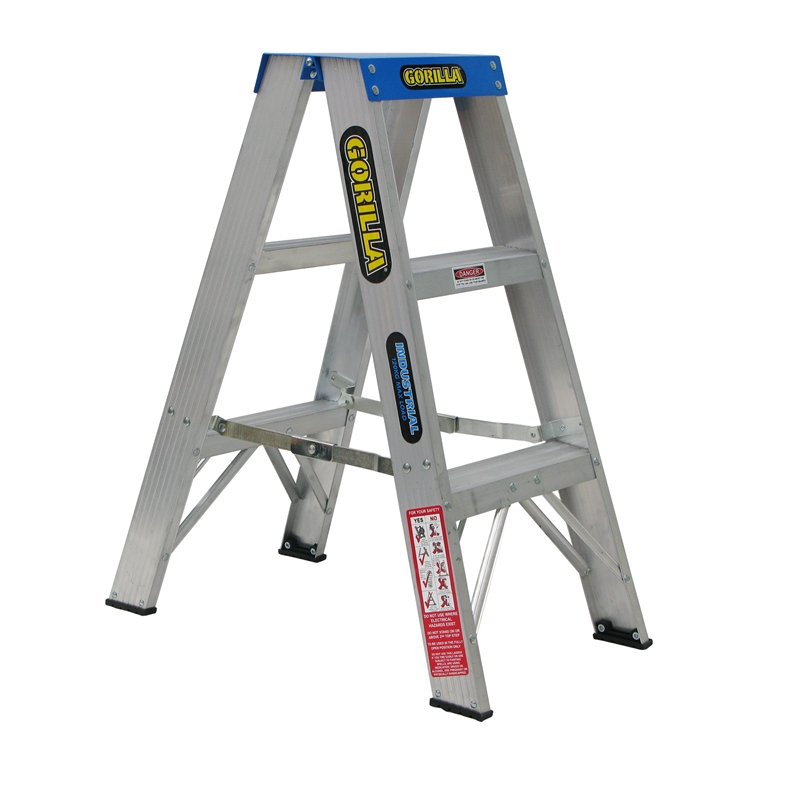 Gorilla Aluminium Double Sided A-frame Step Ladder 120Kg Industrial