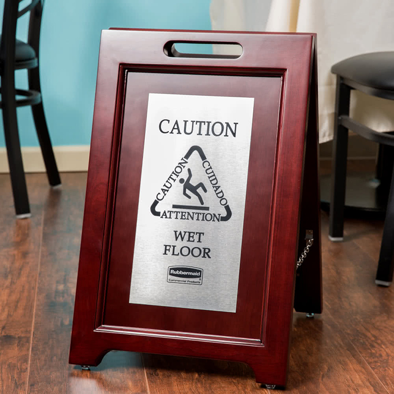 Rubbermaid Executive Wooden Multilingual Wet Floor Caution