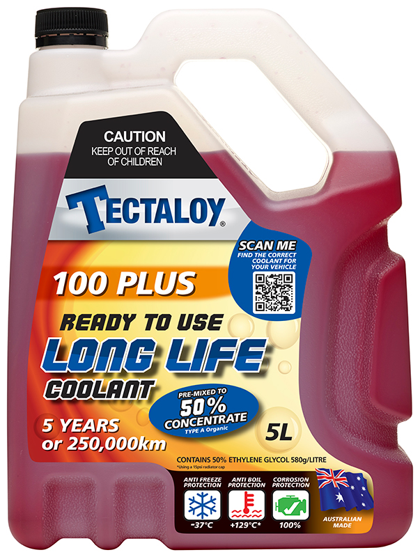 Tectaloy 100 Plus Red Long Life Coolant 50% Concentrate 5L - Ready to Use