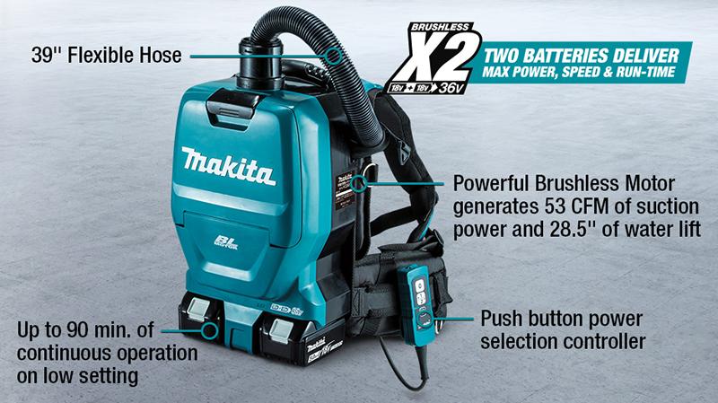 Makita Dvc260 Cordless Brushless Backpack Vacuum Cleaner 18vx2