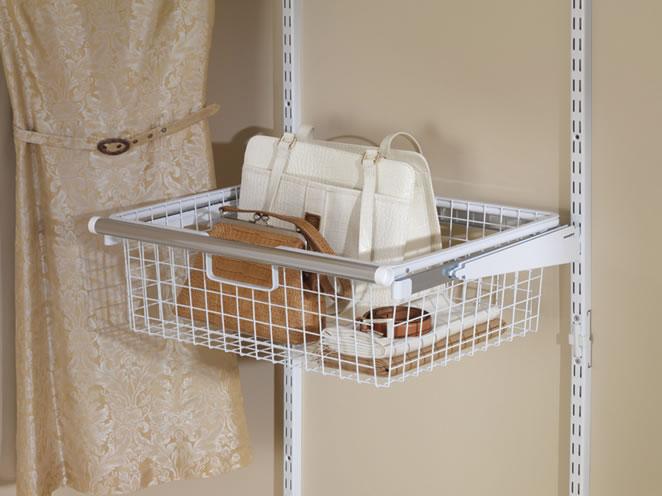 Rubbermaid Configurations Sliding Wire Basket With Shelf Brackets