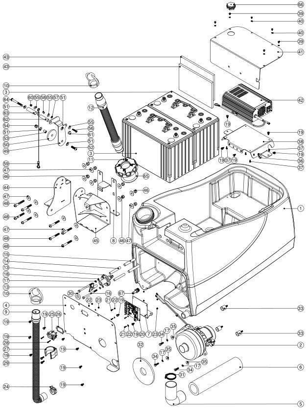 numatic ttb4045-100 450mm battery scrubber